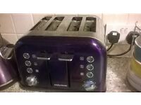 almost new purple morphy Richards four slice toaster used twice