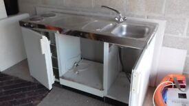 Combined double hob/sink/fridge unit
