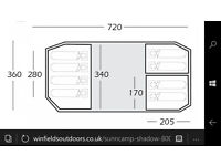Sunncamp Shadow 800 New:8 Berth Family Tunnel Tent, 3 Bed Inner Tents ,Fully Sewn In Groundsheet