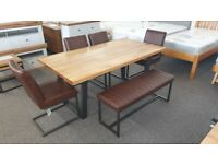 Julian Bowen Brooklyn Dining Table 4 Chairs & Upholstered Bench Can Deliver