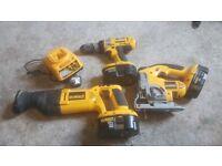 Dewalt 18v drill, recip saw and jigsaw