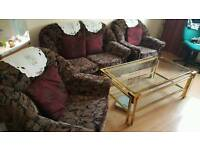 Sofa 4 piece and glass table