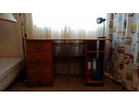 Solid Pine Desk. 4 doors and 2 shelves.