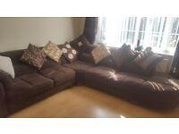 Brown Corner Italian Suede Sofa