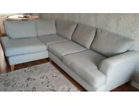 Light Blue DFS Right hand small corner sofa and matching arm chair for sale £300