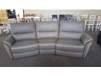 ScS Teo Grey Leather 4 Seater Curved Electric Recliner Sofa With White Beading **CAN DELIVER**
