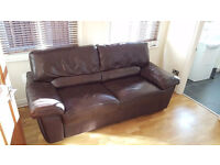 Brown Quality Genuine Leather Comfortable Two Seater Sofabed Good Condition