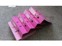 5 pink lever arch folders (Like new)