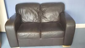 2 Seater Brown Leather Sofa for sale