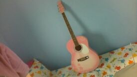 martin smith full sized pink guitar with tuners
