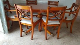 Extending Table and 6 Chairs Charles Barr Reproductio