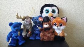 Six assorted TY Beanie toys/animals