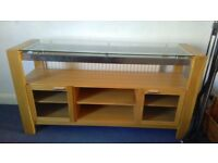Solid wood counter with glass top