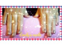 I'm a mobile nail technician. I offer lovely relaxing spa manicures or pedicures and gel polish