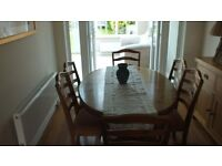 Ducal Extending Dining table and 6 chairs (2 carvers)
