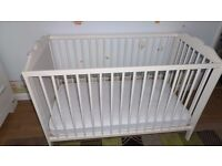 Baby Cot IKEA wooden white and mattress