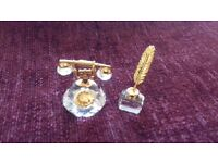 Swarovski Crystal Telephone plus Ink Well with Quill Ornaments