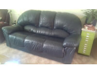 Dark Blue Leather Sofa