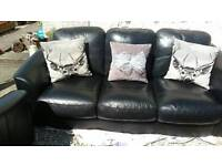Leather sofas and single chair