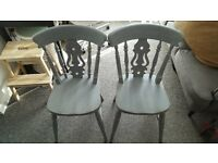 Vintage chabby chic grey solid pine wood chair's .....