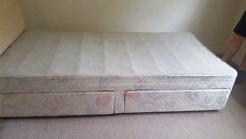 Good condition single divan base, 2 drawers in the base.