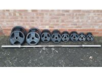 BODYMAX RUBBER TRI GRIP 105KG OLYMPIC WEIGHTS SET WITH 6FT or 7FT BAR