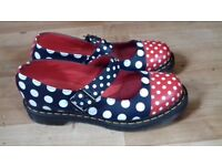 Blue and red with white polka dot doc martens size 8