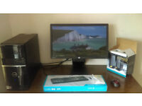 """PC 4GB RAM, Win 7 Pro, with 23"""" Monitor, new Keyboard, Mouse, Speakers and colour printer"""