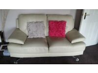 2 x 2 seater cream leather sofas