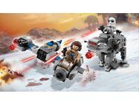NEW Lego 75195 Star Wars Microfighters Ski Speeder and First Order Heavy Assault Walker last Jedi