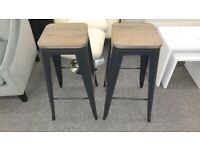 Bar Stool Solid Elm Wood and Satin Black Powder Coated Steel Bargain Only £50 Each Can Deliver