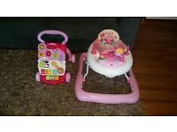 baby car seat maxi cosi pebblepebble, baby walker and walker, trampoline, minnie mouse bouncer door.