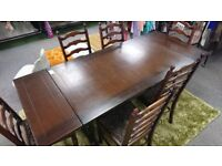 Large extendable dining table plus 6 chairs