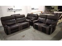 NEW ScS RALPH BLACK & GREY 3 SEATER & 2 SEATER MANUAL RECLINER SOFAS **CAN DELIVER**