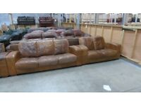 PRE OWNED DFS 3 Seater Sofa + 2 Seater Sofa in Brown Leather