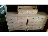 Pair of drawer units with matching top piece