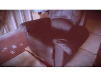 Dark Brown Leather Recliner Armchair
