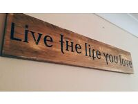 Handmade wooden sing LIVE THE LIFE YOU LOVE