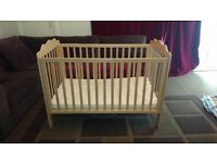 COT AND MATTRESS EXCELLENT CONDITION TIPPI TOES NATURAL BEECH WOOD DROP SIDE FREE LOCAL DELIVERY
