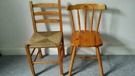 2 PINE CHAIRS £ 10.00 EACH OR £ 15 THE PAIR
