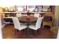 Dining table and 4 cream chenille chairs - table extends to seat 6 - excellent condition