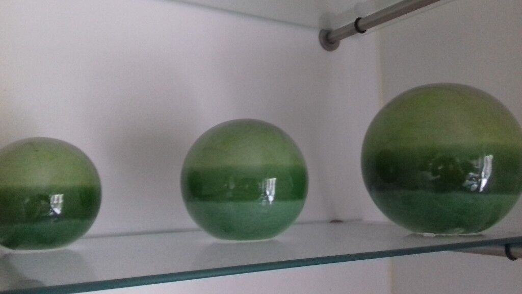 Next Ceramic Lime Green Decorative Balls Perfect Condition In East