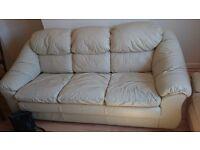 2 + 3 Cream leather sofa, good condition