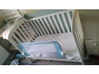 White cot bed with john lewis matress and washable matress protector