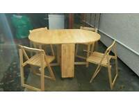 FOLDABLE WOODEN BUTTERFLY STYLE BREAKFAST/DINING TABLE AND 4 CHAIRS