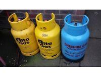 3 X GAS BOTTLES. (£10 EACH)