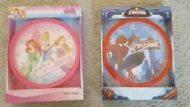 2 x child's wall clocks
