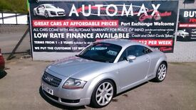 2003 AUDI TT 1.8 QUATTRO 225 BHP COUPE IN SILVER MARCH 2018 MOT NEW SERVICE HEATED LEATHER CD E/W +