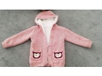 Extra warm fluffy-lined hooded cardigan/hoodie. Nutmeg. 4-5 years