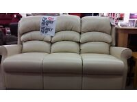 HSL Cream Leather 3 Seater Sofa
